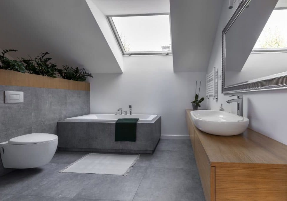 Modern interior design - bathroom in gray and wooden finishing